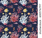 watercolor coral reef seamless... | Shutterstock . vector #600576797