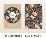 cover design with floral... | Shutterstock .eps vector #600579257
