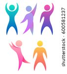 set of colorful rainbow people. ... | Shutterstock .eps vector #600581237