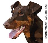 Low Poly. Portrait Doberman