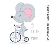 cute little mouse riding a... | Shutterstock .eps vector #600583553