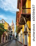 Small photo of CARTAGENA, COLOMBIA - MAY 25: View of a street leading toward the cathedral in Cartagena, Colombia on May 25, 2016