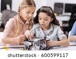 surprised young scientists... | Shutterstock . vector #600599117