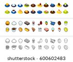 set of icons in different style ... | Shutterstock .eps vector #600602483