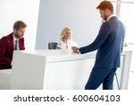 business male guest on... | Shutterstock . vector #600604103