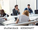 company workers on  meeting... | Shutterstock . vector #600604697