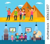 people on excursion horizontal... | Shutterstock .eps vector #600611357
