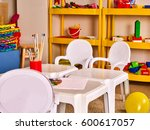 kindergarten tables and chairs... | Shutterstock . vector #600617057