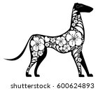 black dog with white flowers... | Shutterstock .eps vector #600624893