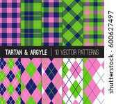 navy pink green golf patterns ... | Shutterstock .eps vector #600627497