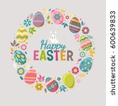 happy easter bright design card.... | Shutterstock .eps vector #600639833