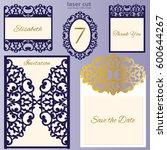 laser cut wedding invitation...   Shutterstock .eps vector #600644267
