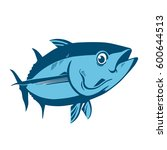 tuna fish symbol on white... | Shutterstock .eps vector #600644513
