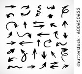 hand drawn arrows  vector set | Shutterstock .eps vector #600650633