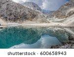 lago d'antermoia  a glacial... | Shutterstock . vector #600658943