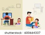 flat illustration of sitting... | Shutterstock . vector #600664337