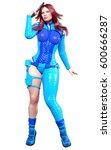 young beautiful woman warrior... | Shutterstock . vector #600666287