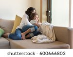 mother and daughter relaxing... | Shutterstock . vector #600666803