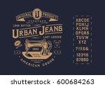 font urban jeans. craft vintage ... | Shutterstock .eps vector #600684263
