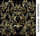 embroidery style floral baroque ... | Shutterstock .eps vector #600690413
