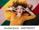 top view portrait of a young... | Shutterstock . vector #600700457