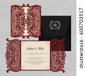 wedding invitation or greeting... | Shutterstock .eps vector #600703517