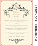 ornate wedding menu design in... | Shutterstock .eps vector #600710897