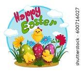 three cute yellow chicken near... | Shutterstock .eps vector #600716027