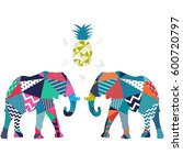 elephant pattern vector... | Shutterstock .eps vector #600720797