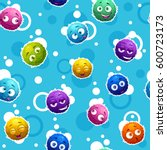 seamless pattern with funny... | Shutterstock .eps vector #600723173