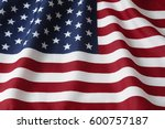 closeup of rippled american flag | Shutterstock . vector #600757187