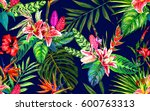 tropical paradise seamless... | Shutterstock . vector #600763313