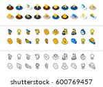 set of icons in different style ... | Shutterstock .eps vector #600769457