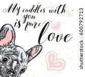 girl french bulldog...   Shutterstock .eps vector #600792713