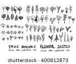 set of tree doodles vector   Shutterstock .eps vector #600812873