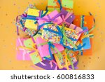 colored gift boxes with... | Shutterstock . vector #600816833