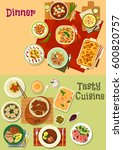 restaurant dinner top view icon ... | Shutterstock .eps vector #600820757