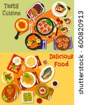 world cuisine popular dinner... | Shutterstock .eps vector #600820913