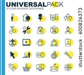 set of 25 universal editable... | Shutterstock .eps vector #600826373
