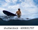 underwater split shot of the... | Shutterstock . vector #600831707
