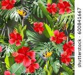 tropical leaves pattern. green... | Shutterstock . vector #600841667