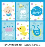 cute baby shower cards. hand... | Shutterstock .eps vector #600843413