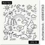 children's drawing on paper... | Shutterstock .eps vector #600843563