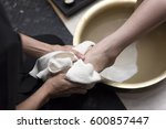 foot washing in spa before... | Shutterstock . vector #600857447