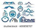 set of real estate logo  house...   Shutterstock .eps vector #600858707