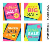 set of trendy sale banners... | Shutterstock .eps vector #600866027