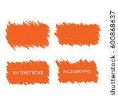 orange brush stroke frame set.... | Shutterstock .eps vector #600868637