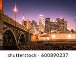 skyscrapers in downtown los... | Shutterstock . vector #600890237