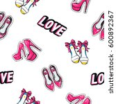 vector love label  bride shoes  ... | Shutterstock .eps vector #600892367