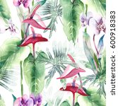 exotic flowers seamless pattern....   Shutterstock . vector #600918383